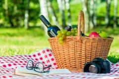 Корзина вполне плодоовощ и бутылки вина на скатерти на s Стоковое Фото