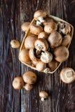 Корзина вполне свежих грибов, коричневых champignons Стоковая Фотография RF