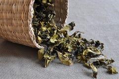 корзина выходит чай Стоковое Изображение