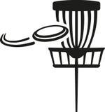 Корзина гольфа диска с frisbee летания Стоковые Изображения
