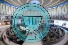 корзина для товаров 3d на предпосылке нерезкости супермаркета Концепция покупок иллюстрация штока