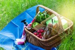 Корзина лета для пикника с вином, хлебом, плодоовощами и закусками Стоковое Изображение
