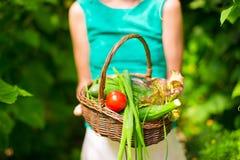 Корзина конца-вверх зеленых цветов в руках женщины Стоковые Изображения