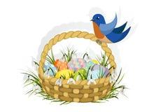 Корзина пасхи с голубой птицей Стоковая Фотография