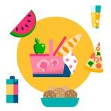 Корзина пикника, еда, иллюстрация вектора напитков бесплатная иллюстрация