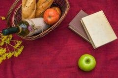Корзина пикника на красном взгляд сверху одеяла Яблоки, белое вино, b Стоковые Изображения