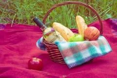 Корзина пикника на красном одеяле на природе Яблоки, белое вино a Стоковые Изображения RF