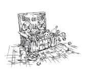 Корзина пикника, обед на траве иллюстрация штока