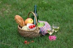 Корзина пикника с вином, хлебом, овощами Стоковое Изображение RF