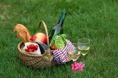Корзина пикника с вином, хлебом, овощами Стоковые Фото