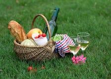 Корзина пикника с вином, хлебом, овощами Стоковое Изображение