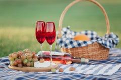 Корзина пикника с напитками, едой и плодом на снаружи зеленой травы в парке лета стоковое фото