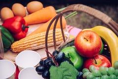 Корзина плодоовощ, basketry пикника с едой на таблице и шатер fo стоковые изображения