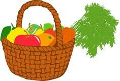Корзина плодоовощ, иллюстрации Стоковое Изображение RF