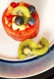 Корзина плодоовощ на сини Стоковая Фотография