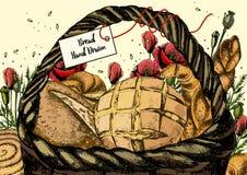 Корзина свежего хлеба и маков Иллюстрация вектора