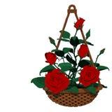 корзина смертной казни через повешение много роз Стоковая Фотография RF