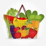 Корзина супермаркета с овощами Стоковое Изображение