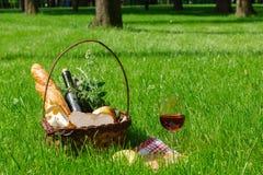 Корзина с едой для пикника с бокалом вина Стоковая Фотография RF