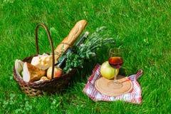 Корзина с едой для пикника с бокалом вина Стоковое Изображение RF