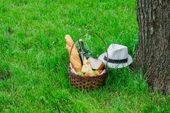 Корзина с едой для пикника Стоковая Фотография RF