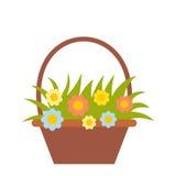 Корзина с значком цветков плоским Стоковое Изображение