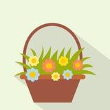 Корзина с значком цветков плоским Стоковая Фотография