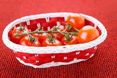 Корзина с зрелыми томатами Стоковые Изображения