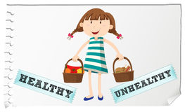 Корзина с здоровой и нездоровой едой иллюстрация вектора