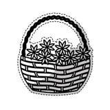 Корзина с изображением значка цветков иллюстрация штока