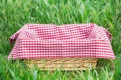 Корзина с красной клеткой на скатерти на траве, обои праздника стоковая фотография rf
