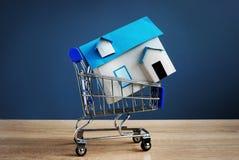 Корзина с моделью дома Свойство покупки или надувательства стоковое фото