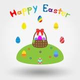 Корзина с смычком и пасхальными яйцами бесплатная иллюстрация