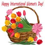 Корзина с тюльпанами на праздник 8-ого марта иллюстрация вектора