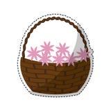 Корзина с цветками бесплатная иллюстрация