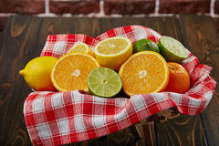 Корзина с цитрусовыми фруктами Стоковая Фотография