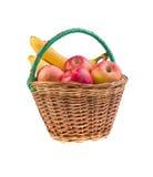Корзина с яблоками и бананами Стоковое Изображение