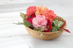Корзина цветка в деревянной предпосылке Стоковые Изображения RF