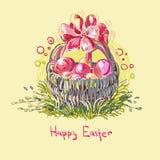Корзина цветка дизайна стиля краски вектора пасхальных яя красочная иллюстрация вектора