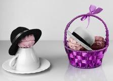 Корзина, чашка и поддонник Zephyr фиолетовые Стоковая Фотография