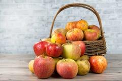 Корзина яблок на деревянном столе Стоковое Изображение
