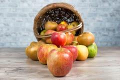 Корзина яблок разлитых на таблице Стоковая Фотография