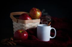 Корзина яблок с кружкой сидра Стоковые Фотографии RF