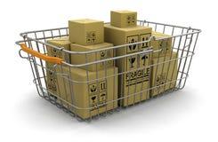 Корзина для товаров и пакеты (включенный путь клиппирования) Иллюстрация вектора