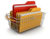 Корзина для товаров и папки (включенный путь клиппирования) Иллюстрация штока