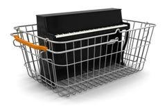 Корзина для товаров и рояль (включенный путь клиппирования) Бесплатная Иллюстрация