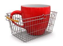 Корзина для товаров и чашка (включенный путь клиппирования) Бесплатная Иллюстрация