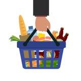 Корзина для товаров с едой и питье в руке Стоковое Фото