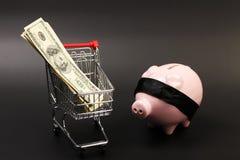 Корзина для товаров с стогом долларовых банкнот американца 100 денег внутренних и розовая копилка с черным blindfold положением Стоковые Фото