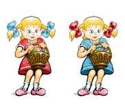 корзина eggs девушка малая Стоковая Фотография